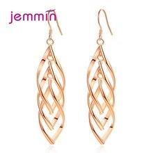 Rose Gold Color Geometric Long Ear Line For Women Piercing Earings 925 Sterling Silver Tassel Drop Dangle Earring Jewelry