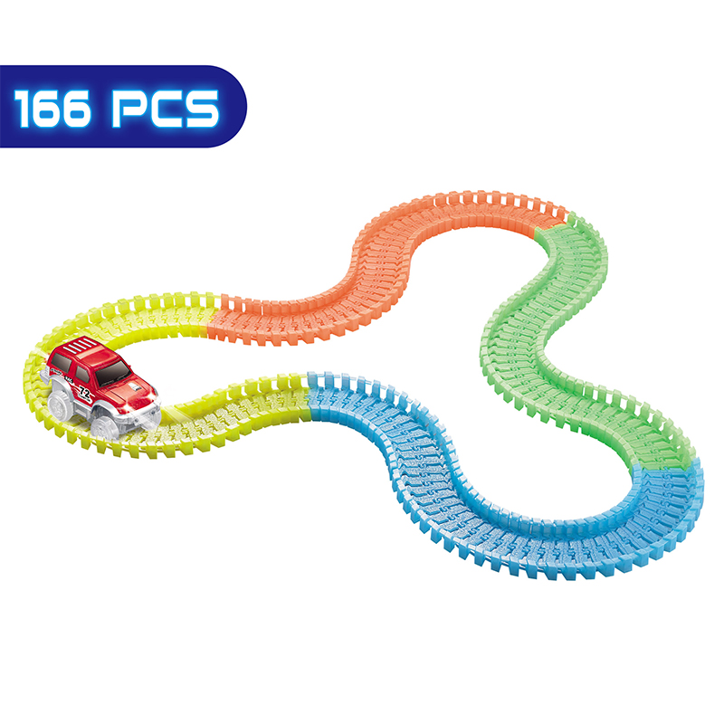 Glow Race Track Cars Mini Rail Car Toys Glow in the Dark Assembly Toy Slot Race Track LED Car Puzzle Educational Toys for Kids