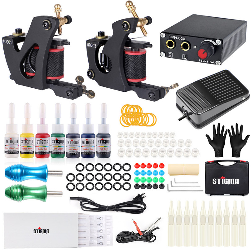 Coil Tattoo Machine Starter Kits 2Pcs Guns Aluminiun Alloy Grips 7 Inks Professional Power Supply Footpedal For Liner And ShaderCoil Tattoo Machine Starter Kits 2Pcs Guns Aluminiun Alloy Grips 7 Inks Professional Power Supply Footpedal For Liner And Shader