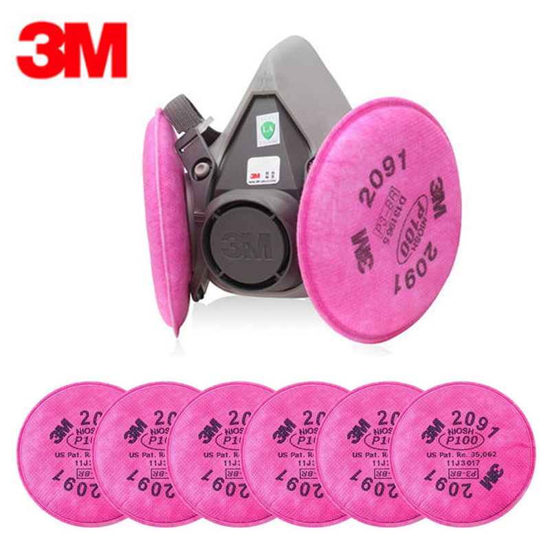 3M 6200 Spray Paint /Dust Mask respirator facepiece with 6pc 3M 2091 P100 Fliters 3m 6200 respirator industry spray paint gas mask 7 in 1 suit with 3m 2097 p100 respirator fliters anti dust mask
