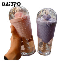 BAISPO Creative Cups Straw Fitness Portable Single Layer Plastic Mixing Cups Hand Cup Outdoor Sports Kettle
