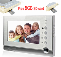 DoorPhone Video Recording Video Intercom 8GB SD Card Photos Storage Video Record Color 7inch LCD Indoor