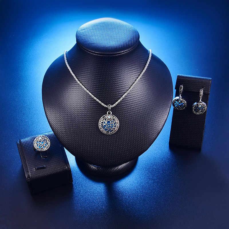 אופנה סט תכשיטי וינטג 'לנשים צבע כסף סטי תכשיטי חתונה עגולה הכחול דובאי ly12 מתנת מסיבת אירוסין של אהבה