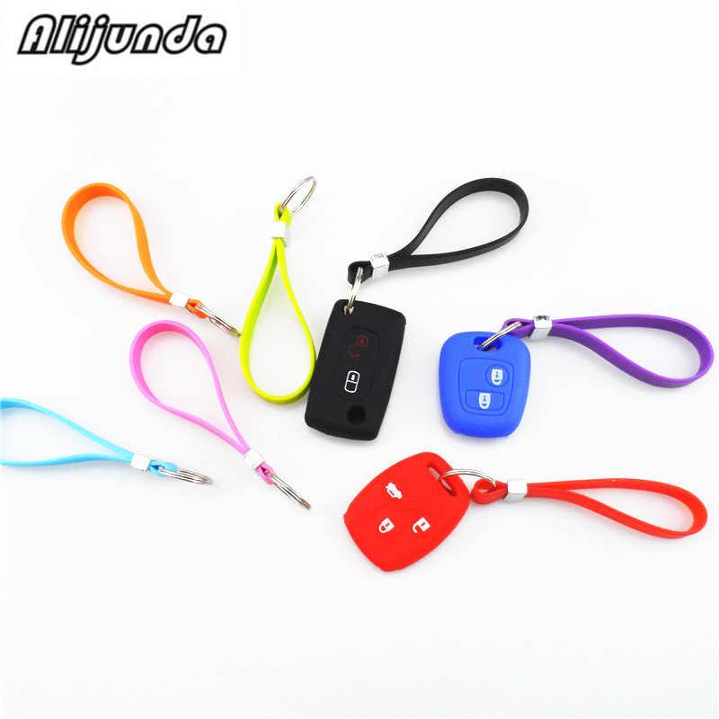 Mới Silicone chìa khóa dài dây đeo tay vòng tay chìa khóa thìa di động Móc chìa khóa dành cho Xe Đạp Peugeot 206 207 208 301 307 308 407 2008 3008 4008