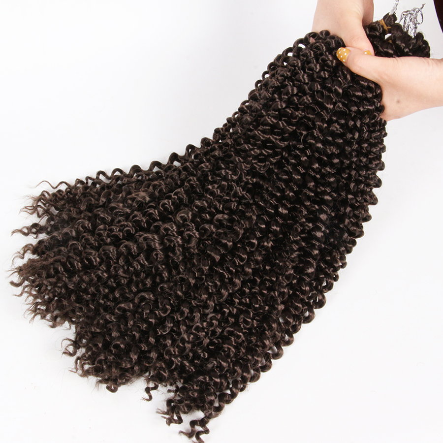 AliLeader 18Inch Natural Afro Kinky Twist Synthetic Crochet Braiding Hair Extension Spring Passion Curly Brown Black