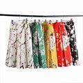 DayLook 2016 Estilo Del Verano Faldas Para Mujer Elegante de la Impresión Floral de la Alta Cintura de La Vendimia de Sakura Del Tutú Skater Falda Plisada 5 Colores Saia
