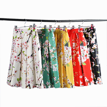 DayLook Chic Summer Style Skirts Womens Elegant Sakura Floral Print High Waist Vintage Tutu Skater Pleated Skirt 5 Colors Saia