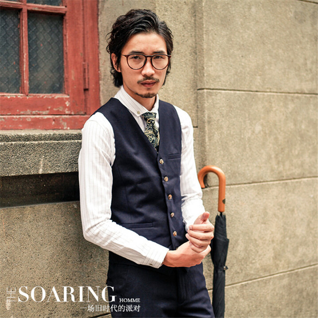 Men Autumn Winter Vest Suit Brand Clothing Male Formal Vest Solid Single Breasted Waist Coat Slim Fit Vintage Fashion A2927