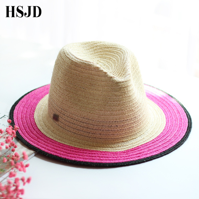 Natural Linen Wide Brim Floppy Straw Hat Fedora Sun Hat Beach Women Hat  Summer Hat UV Protect Panama Straw Travel Cap Unisex 2489f7e9df19