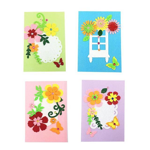 Birthday Greeting Card Blank Felt Handmade Craft Gift Kids DIY Art