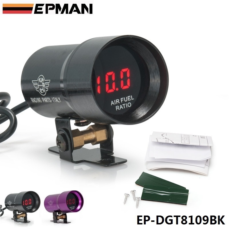 EPMAN-37mm COMPACT MICRO DIGITAL SMOKED AIR/FUEL RATIO GAUGE UNIVERSAL 3-4-6-8 CYLINDER ENGINES Black,Purple For Seat EP-DGT8109