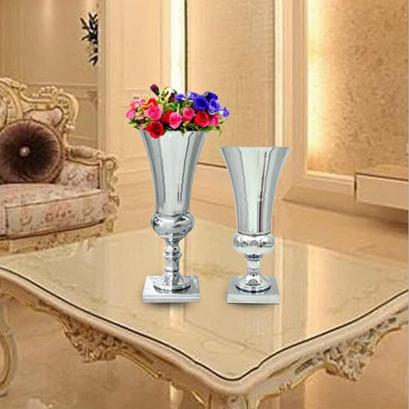 Pcs lot silver plated metal flower vase wedding