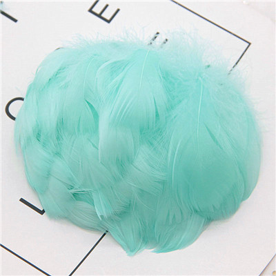 Натуральные перья лебедя 4-7 см 1-2 дюйма маленькие плавающие Шлейфы гусиное перо цветной шлейф для украшения рукоделия 100 шт - Цвет: lt blue green 100pcs