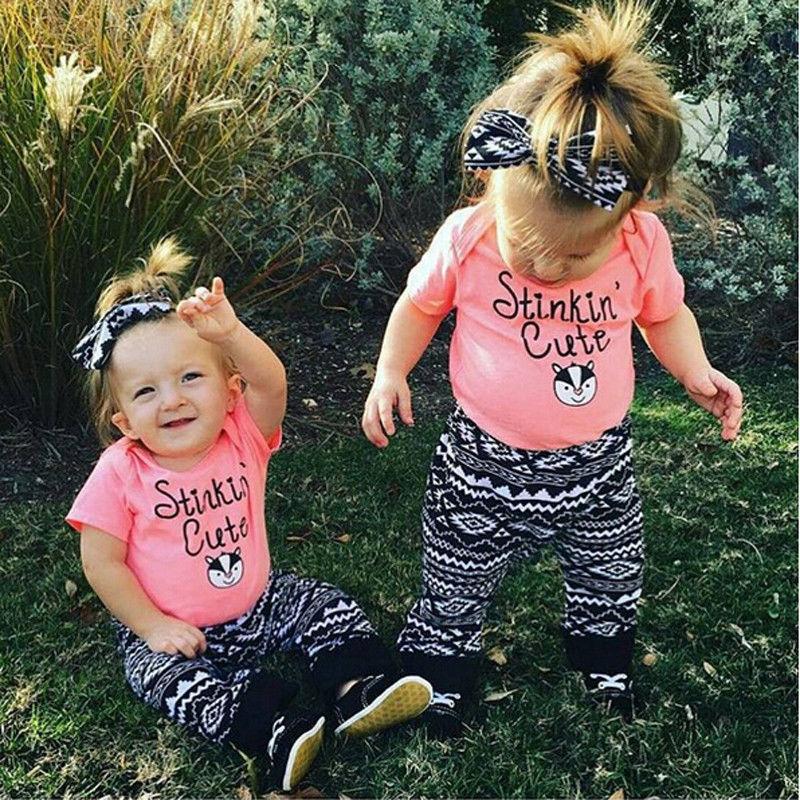 2 szt. Noworodek dla niemowląt dzieci dziewcząt T-shirt Topy + długie spodnie strój zestaw ubrań
