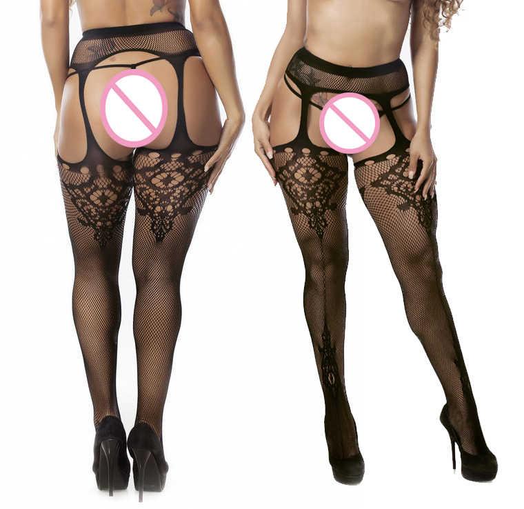 Hot Seksi Lace Babydoll Lenceria Mesh Berkilau Pakaian Pantyhose Seksi Unik Panty Hose-Twinkle Celana Kristal Celana Ketat