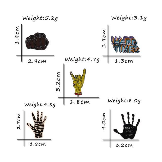 Punk Collection czarne broszki emaliowane szpilki Rock Hand gest pięść szpilki odznaki męskie dżinsy przypinki na klapę koszula biżuteria prezent