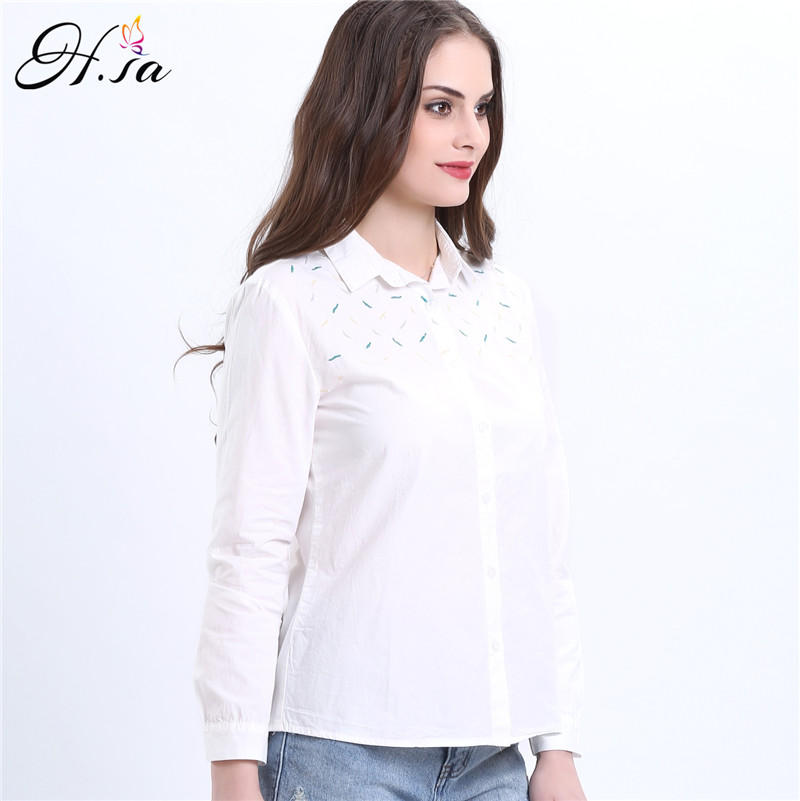 H.SA Women White Blouses Shirts Long Sleeve Spring Embroidery ...