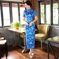 Free shipping long Qipao chinese traditional dresses Blue qipao dresses Women's Oriental Dress Cheongsam Qipao