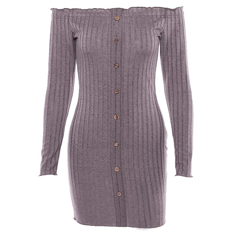 Women Clothing Spring New Off Shoulder Bud Long Sleeve Casual Dresses Slim Sexy Bodycon Close fitting Pencil Dress in Dresses from Women 39 s Clothing