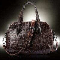2016 Top Quality Genuine Leather Crocodile Pattern Women Messenger Shoulder Ladies Cross Body Luxury Vintage Tote