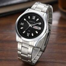 Homens relógio pulseira de relógio de marca De Luxo homem relógio de quartzo Calendário Cinta de prata Venda reloj hombre relógio na mão