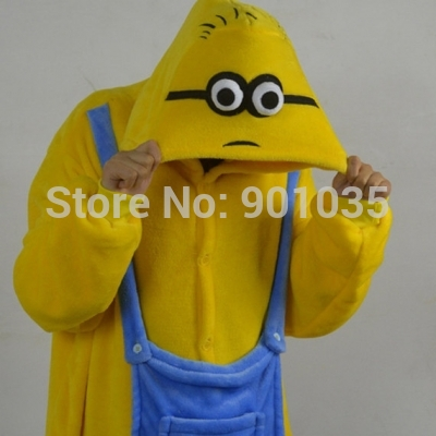 free shipping Onsie Pyjamas Onesie Fancy Dress Costume Sleepsuit Unisex Minion Size S M LXL