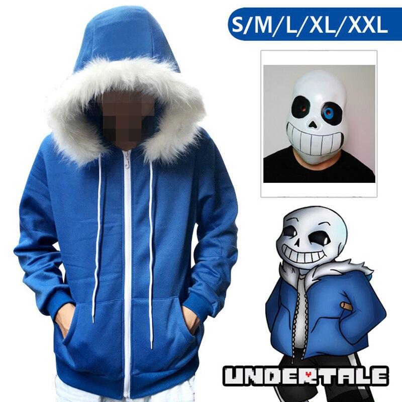 Yenilik ve Özel Kullanım'ten Oyun Kostümleri'de 2 adet/takım Undertale Sans Cosplay Hoodies Lateks Maske Serin İskelet Cos Mavi Ceket Cadılar Bayramı Cosplay Kostüm Unisex Ceket Başlık title=