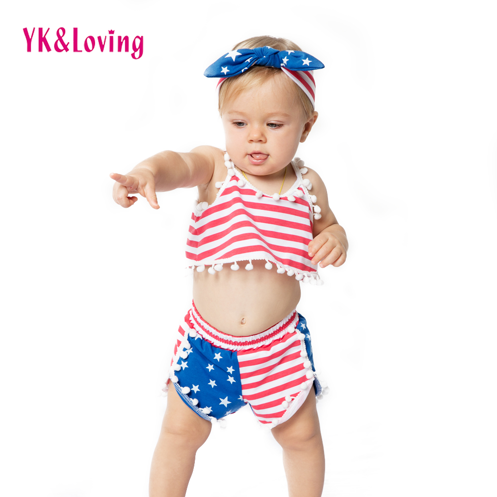 America Girls Clothes Sets 4th of July Red/blue Strips Children Set Baby 2018 Summer Style Cotton Clothin 1-4 Years Kids Gifts cd america various artists america a land of refuge 2cd