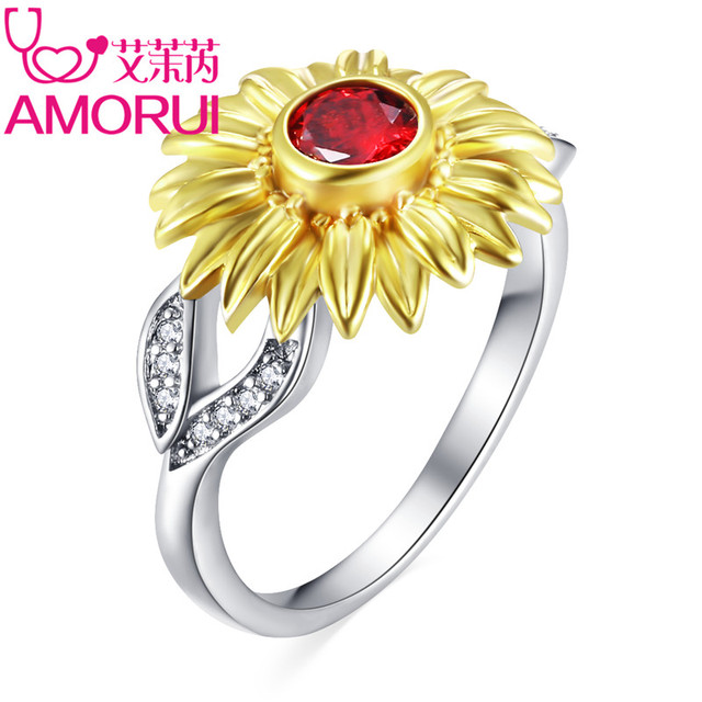 AMORUI Cute Gold Sunflower Silver Plated Red/Purple CZ Birthday Stone Wedding Ri