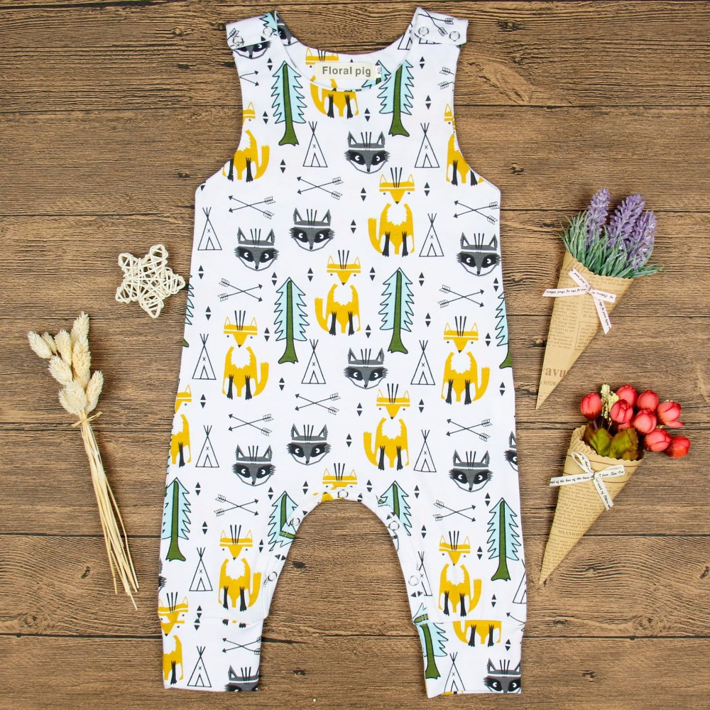 2017 Newborn Casual Cute Baby Cartoon Fox Trees Print Sleeveless White Jumpsuits For Infant Baby Girl Romper 2017 Unisex Onesie
