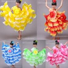 Детская Испанская танцовщица костюмы пикантные фламенко Танцы нарядное платье девушки производительность для фламенко, бальных танцев платье 360 градусов
