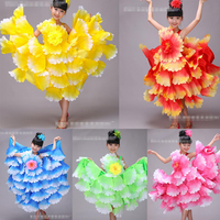 Kids Spanish Dancer Costumes Sexy Flamenco Dancing fancy dress Girl's Performance Flamenco Ballroom Dance Dress 360 Degrees
