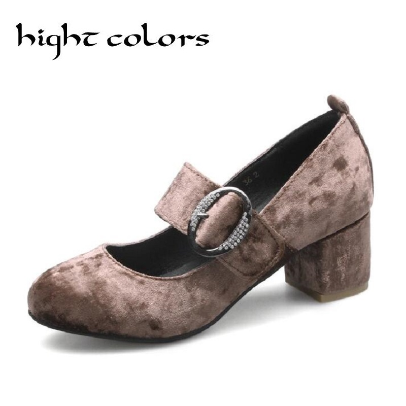2018 Sexy Women Pumps Velevt Round Toe Mary Janes High Heels Casual Office Lady Crystal Wedding Shoes Woman Plus Size 44 45 2017 shoes women med heels tassel slip on women pumps solid round toe high quality loafers preppy style lady casual shoes 17