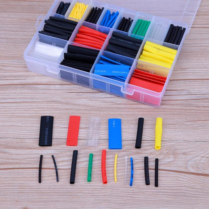 580 teile/satz Schrumpfschlauch Isolierung Schrumpfschlauch Sortiment Elektronische Polyolefin-verhältnis 2:1 Wrap Draht Kabel Hülse Kit