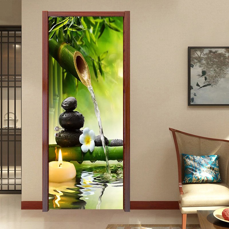 3D Wallpaper Chinese Style Green Bamboo Landscape Door Sticker Living Room Dining Room Home Decor PVC Waterproof 2 Piece Sticker