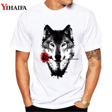 Men T-Shirt 3D Floral Wolf Print Stylish Summer Creative Short sleeve Slim Fit White Printed Tee Shirts