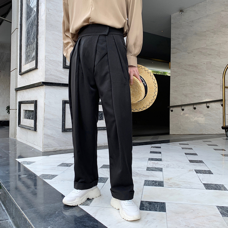 2019 Spring New Korean Men's Designer Models Loose Drape High Waist Simple Harajuku Casual Trousers