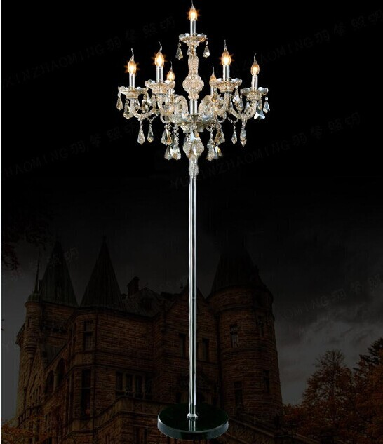 Luxury crystal k9 bedside lamps European floor lamp gold silver crystal floor lamp bedroom candle lamp living room lights fashion creative stand lighting crystal romantic luxury modern library stand lamps living room bedside k9 crystal floor lamps