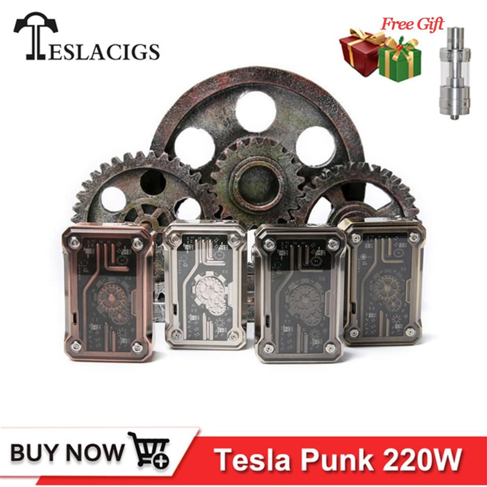 Originale Tesla Punk 220 W Sigaretta Elettronica Mod TC TCR VW VV Modalità Alimentato da dual 18650 batterie Teslacigs Punk 220 Box Kit