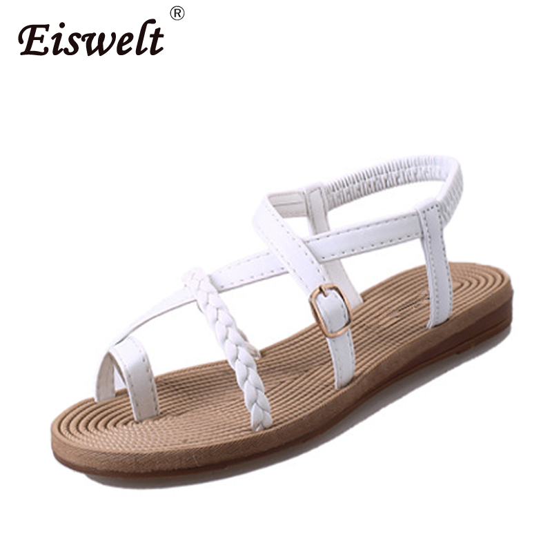 EISWELT Women Sandals Flat with Shoes Bandage Bohemia Leisure Lady Sandals Peep-Toe Outdoor Women Summer Footwear Shoes Fashion xda 2018 new summer sandals women flat shoes bandage bohemia leisure lady casual sandals peep toe outdoor fashion sandals f171