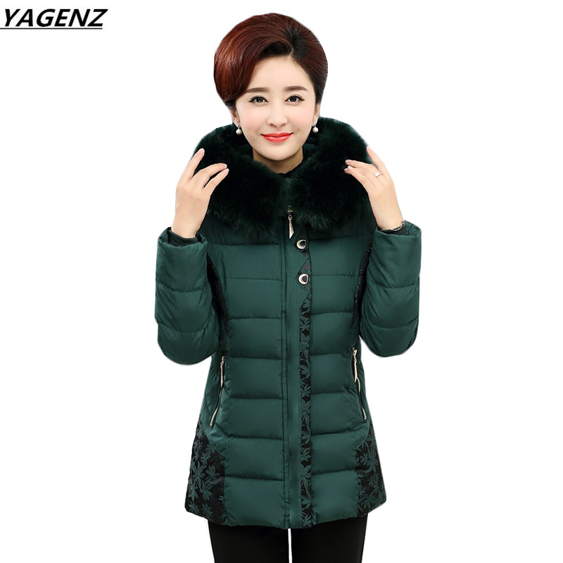 New Warm Winter Jacket Women Hooded Fur Collar Cotton Padded Coat Plus Size 5XL Down Jacket Coat Middle Aged Clothing YAGENZ 477