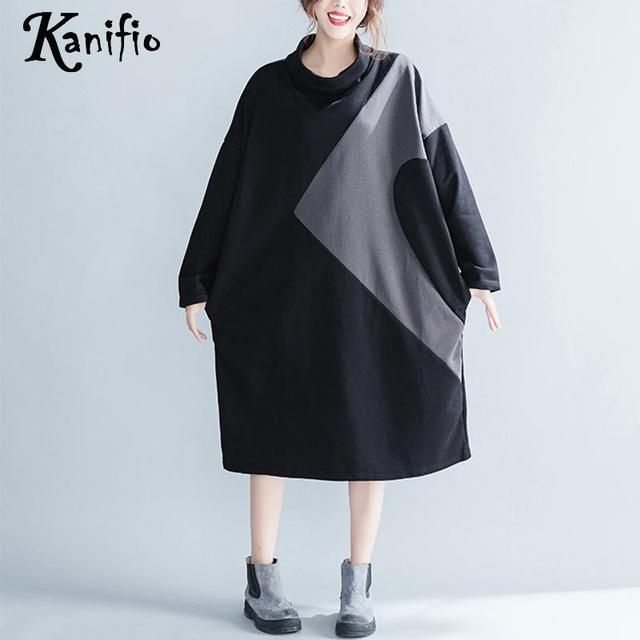 20cb7473293 Kanifio Brand Big Plus Size Women Cotton Dress Ladies Causual Loose Color  Block Dresses Female Long Shirt Tunic Vestidios 7XL