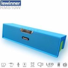 Lewinner большой мощности 10 Вт Портативный беспроводной Bluetooth Динамик стерео сабвуфер звук поддержка MIC TF FM радио AUX часы LED