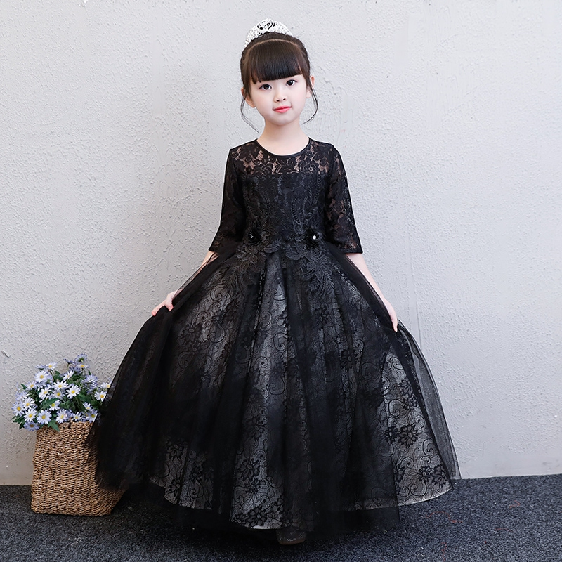 2018 Summer New Luxury Fashion Children Girls Black Color Evening Party Long Sleeves Dress Kids Teens Piano Host Costume Dress black col boule ruffled hem long sleeves mini dress