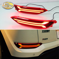 SNCN 2PCS Rear Fog Lamp For Hyundai Tucson 2015 2016 12V Car LED Rear Bumper Light Brake Light Flowing Turn Signal Reflector