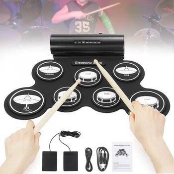 Electronic Drum Digital USB MIDI 7 Pads Roll Up Set Silicone Electric Drum Pad Built-in Speakers with Drumsticks Sustain Pedal