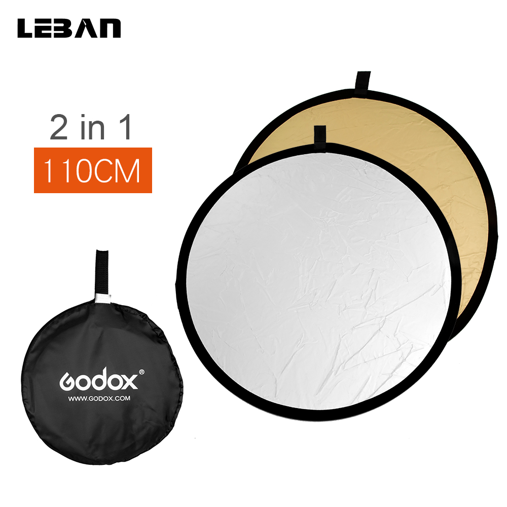 Free Shipping GODOX 2in1 110cm New Collapsible Light Round Photography Reflector For Studio Or Outdoor(2in1 110cm)