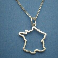 30PCS Tiny Country Map France Necklace Charm Pendant Hollow Outline European Pride French Paris Map Necklaces for Souvenir Gifts