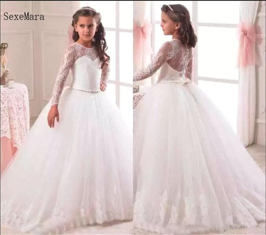Custom Made White Ivory Ball Gown Long Sleeves   Flower     Girl     Dress   for Wedding Lace First Communion   Dress   Pageant Gown with Bow