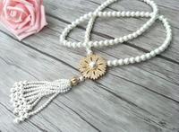 5 pcs CZ zircon cristal Micro pave d'or charme Pendentif Connecteur, Naturel Shell Perle Perles Chaîne glands Femmes Collier NK227